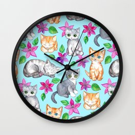 Kittens and Clematis - blue Wall Clock