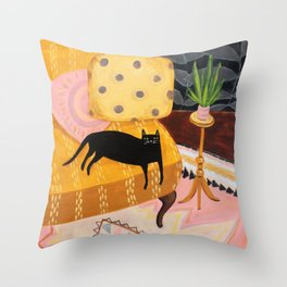 black cat on mustard yellow sofa painting by Tascha Throw Pillow
