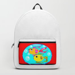 Two Goldfish in a Fishbowl, Red Wall Backpack