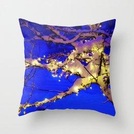 Snow Lit Tree at Night Throw Pillow