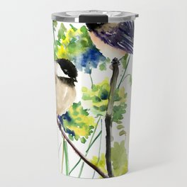 chickadees and Spring Blossom Travel Mug