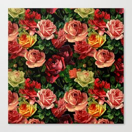 Vintage & Shabby chic - floral roses flowers rose Canvas Print