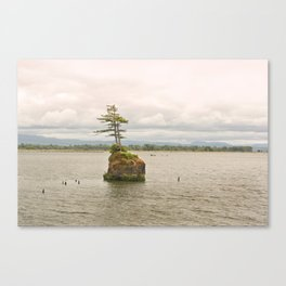 Altoona Rock Seastack Island Columbia River Oregon Washington Northwest Landscape Forest Trees Canvas Print