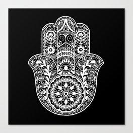 Black and White Hamsa Hand Canvas Print