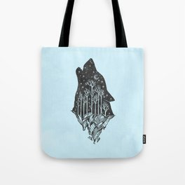 Adventure Wolf - Nature Mountains Wolves Howling Design Black on Turquoise Blue Tote Bag