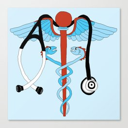 medical caduceus and stethoscope Canvas Print