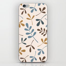 Assorted Leaf Silhouettes Blues Brown Gold Cream iPhone Skin