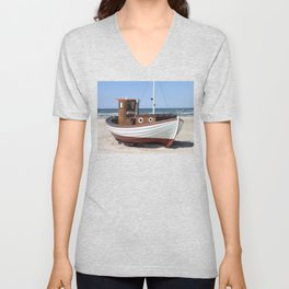 Wooden fishing boat on the beach. Unisex V-Neck