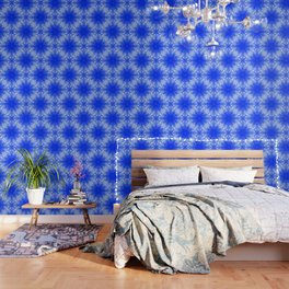 Fractal lace mandala in blue and white Wallpaper