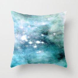 nEbulA Aqua Teal Sparkle Throw Pillow