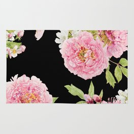 Black and Pink Watercolor Peony Rug