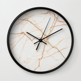 white marble Marble white and gold red vains real marble texture Wall Clock