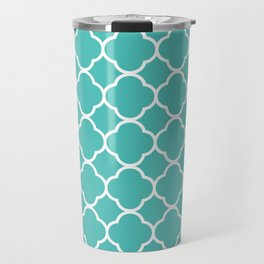 Quatrefoil Shape (Quatrefoil Tiles) - Blue White Travel Mug