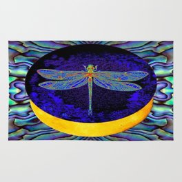 Mystical Midnight- Blue Moon  Gossamer Dragonfly Art  Rug