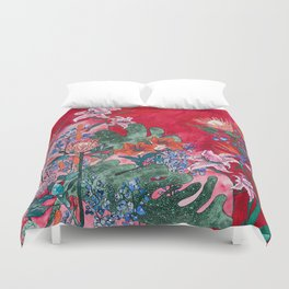 Ruby Red Floral Jungle Duvet Cover