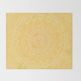 The Most Detailed Intricate Mandala (Mustard Yellow) Maze Zentangle Hand Drawn Popular Trending Throw Blanket