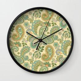 Yellow Paisley Wall Clock