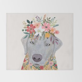 Silver Labrador with Flowers Throw Blanket