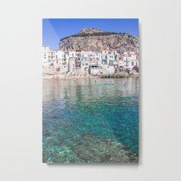 Azure water in Cefalu Metal Print