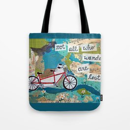 Not all who Wander are Lost - Red Tandem Bicycle Tote Bag