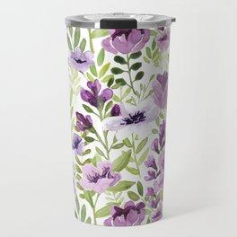 Watercolor/Ink Purple Floral Painting Travel Mug