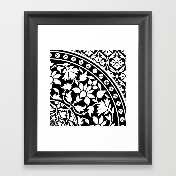 Indian Black and White Floral Geometric Pattern Framed Art Print by ...