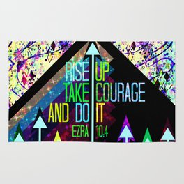 RISE UP TAKE COURAGE AND DO IT Colorful Geometric Floral Abstract Painting Christian Bible Scripture Rug