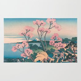 Spring Picnic under Cherry Tree Flowers, with Mount Fuji background Rug