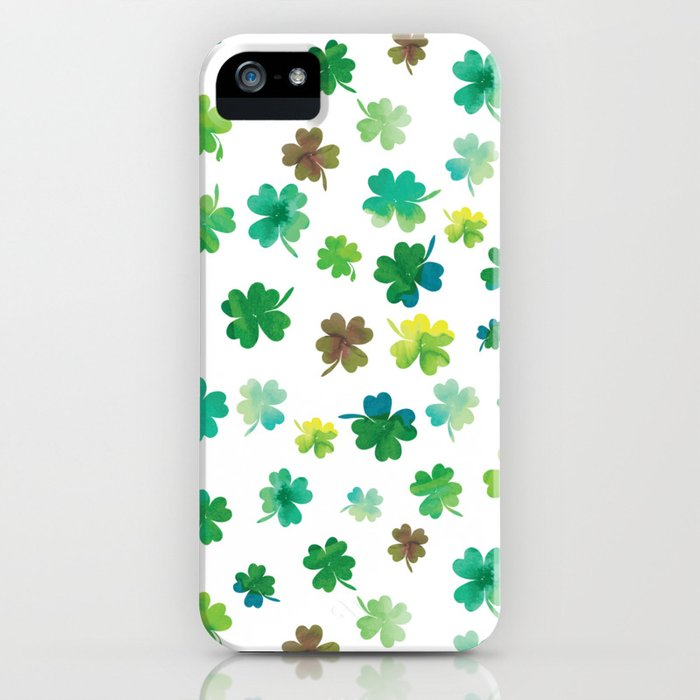 Lucky Watercolor Clovers iPhone Case