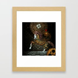 Steampunk,mystical steampunk unicorn Framed Art Print