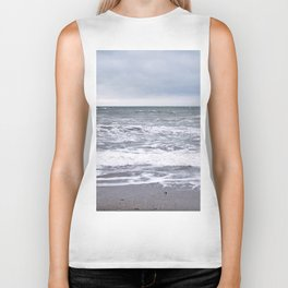 Cloudy Day on the Beach Biker Tank