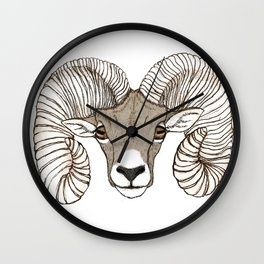 Ram Head in Color Wall Clock