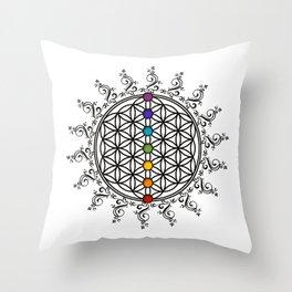 FLOWER OF LIFE, CHAKRAS, SPIRITUALITY, YOGA, ZEN,  Throw Pillow
