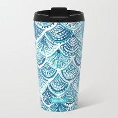 NAVY LIKE A MERMAID Fish Scales Watercolor Metal Travel Mug