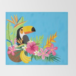 Tropical Toucan Island Coconut Flowers Fruit Blue Background Throw Blanket