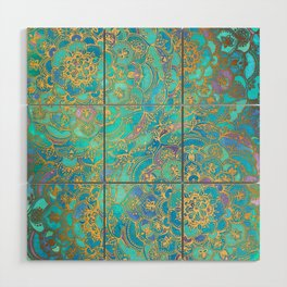 Sapphire & Jade Stained Glass Mandalas Wood Wall Art