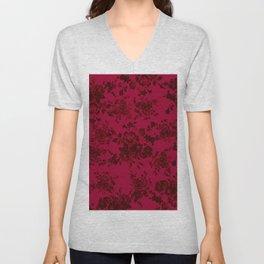 Vintage black gray red bohemian floral pattern Unisex V-Neck