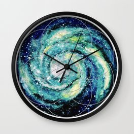 Spiral Galaxy with Seed of Life Wall Clock