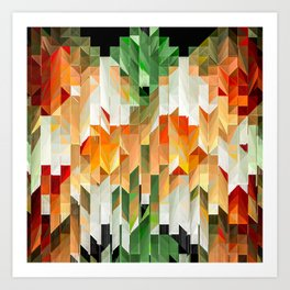 Geometric Tiled Orange Green Abstract Design Art Print