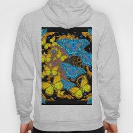 Oriental Style Blue & Gold Butterflies Nature Art Hoody