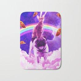 Cosmic Cat Riding Unicorn Pug Bath Mat