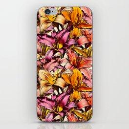 Daylily Drama - a floral illustration pattern iPhone Skin