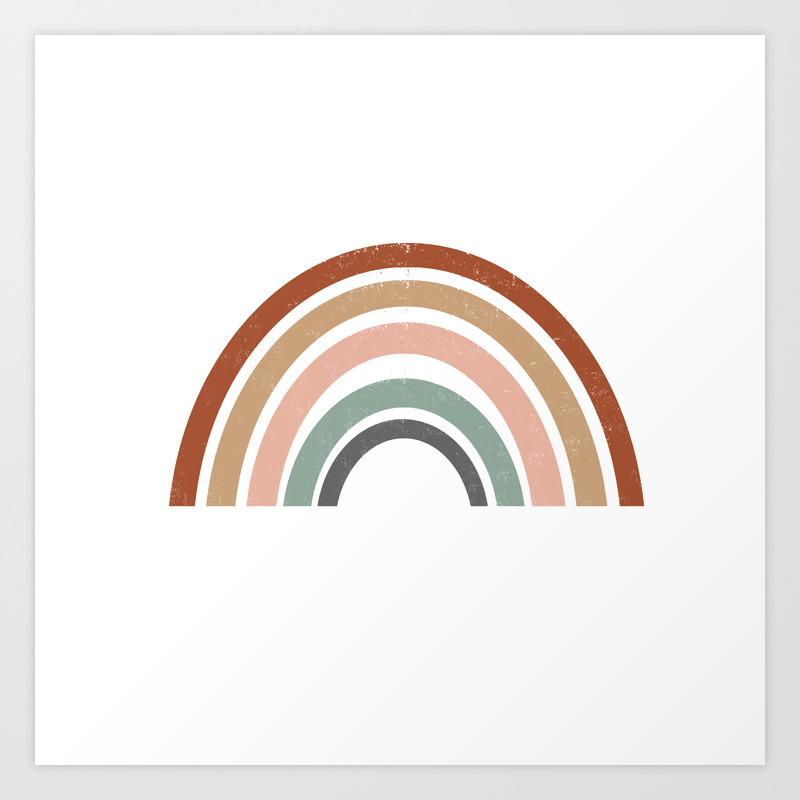 Rainbow Earth Tone Cute Kids Room Decor