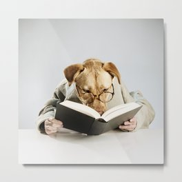 Reading Dog Metal Print
