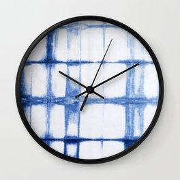 Shibori Blue - Rectangles Wall Clock