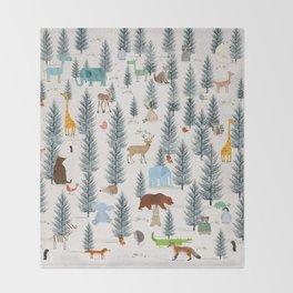 little nature woodland Throw Blanket
