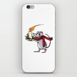 Christmas Mouse Carrying Burning Candle, Illustration iPhone Skin