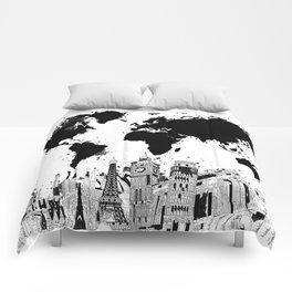 Landmark comforters society6 world map city skyline 4 comforters gumiabroncs Gallery