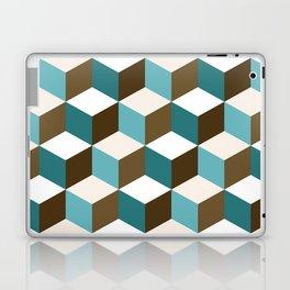 Cubes Pattern Teals Browns Cream White Laptop & iPad Skin