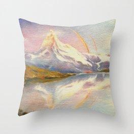 Matterhorn with Rainbow - Swiss Mountain Landscape Throw Pillow